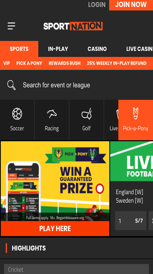 SportNation Free Bet